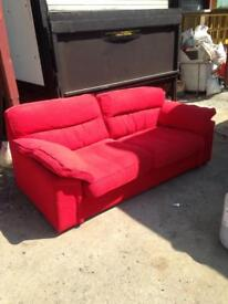 Red three seater sofa need collecting ASAP