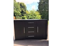 Bookcase, Drawer Unit and TV stand - black with silver trim