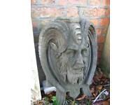 Devils mask solid carved stone