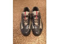Men's Prada Americas Cup Blue Patent with Grey Mesh Trainers.