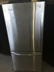 59- NEUF - NEW  Réfrigérateur/Frigo Stainless 30'' WHIRLPOOL Refrigerator Fridge