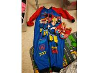 Fireman Sam onsie size 2-3y and slippers size 6-7