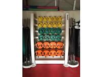 Body pump sets and rack