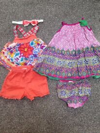 Baby girl summer bundle dress, swimming costume, shorts, top size 6-12 months