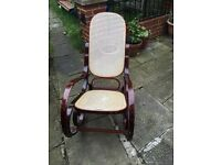 Beautiful Vintage Rattan Bentwood Wooden Rocking Chair Conservatory, Living Room