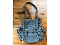 Oasis Grey Leather Messenger Bag