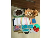 Selection of coloured card, shells and cones ideal for craft purposes. Collect Fulham