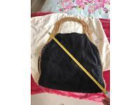 Stella McCartney Handbag Bag Black Gold Falabella Shaggy Deer Fold Over Tote