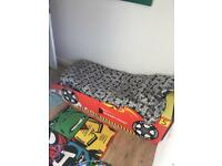 Racing car bed with mattress