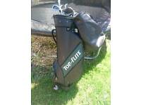 Golf clubs and bag 8 golf clubs in bag