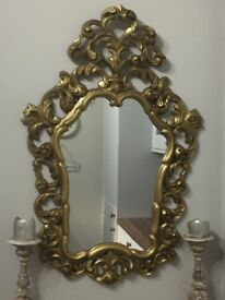 Gold Upcycled antique mirror and table