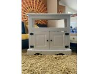 White wooden tv unit stand cupboard