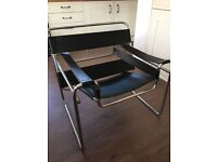 Faux Baxton Studio Modern Leather Accent Chair - Black and Chrome