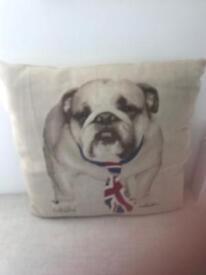 Union Jack tie with bulldog cusion