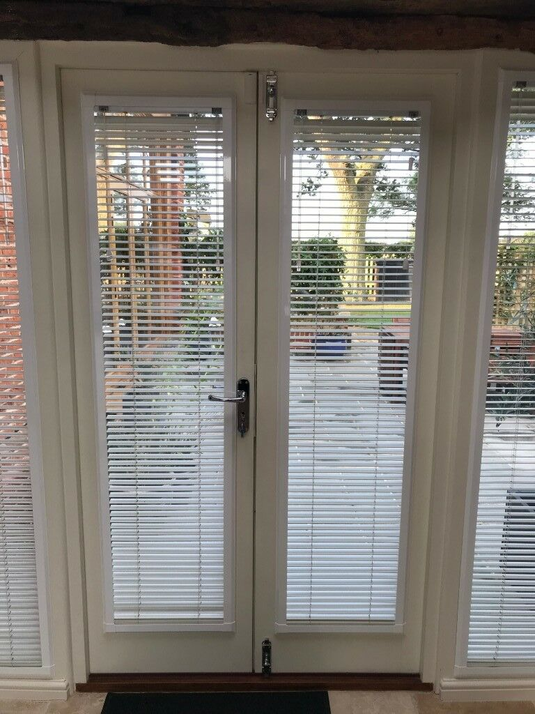 Perfect Fit White Wooden Venetian Blinds For French Doors In