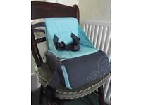 Child's Chair Booster Seat, blue/grey, folding/portable,