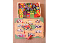 melissa and doug wooden puzzle and threading beads