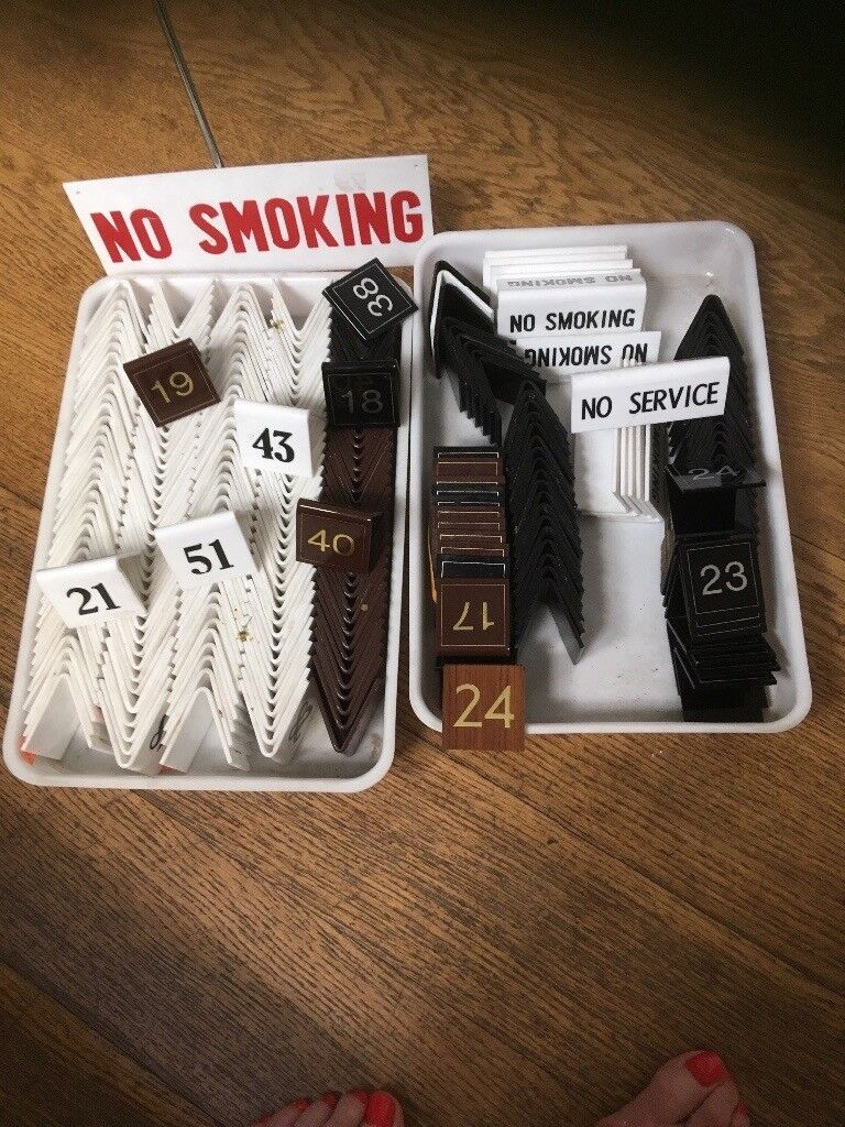 Cafe Restaurant Table Numbers No Smoking Signs In Claygate - Restaurant table number signs