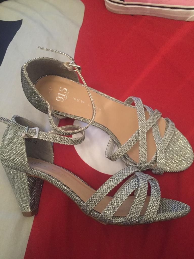 e57e17ebbe2b Girls silver high heel shoes size 4 xmas party!