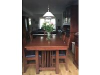 Solid wood extending dinning table and 6 upholster chairs