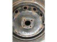 "15"" steel wheels & 15"" new wheel trims & used Avon enviro tyre & vw starter motor"