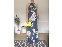Wedding Guest Outfit, maxi dress size 10 with clutch bag and sandals