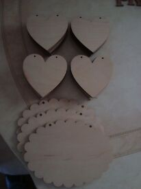 40 Laser Cut 10cm wooden hearts and three 15cm oval scalloped shapes all with pre-drilled holes