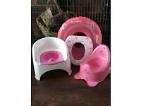 2x Potties , toilet seat , & Rubber Ring
