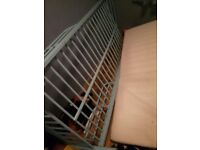 Blue metal frame bed new and free mattress if required buyer collects