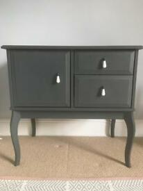 Wooden Cabinet Bedside Table In Slate Grey