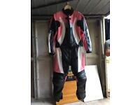 Genuine leather women's motorcycle suit size 14 plus leather gloves size M and helmet size 51-52
