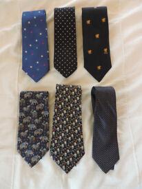 6 Mens 100% Silk Ties
