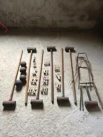 Croquet set wooden mallets and balls