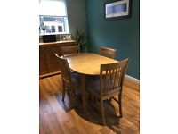 Oak Effect Dinning Table and Four Chairs