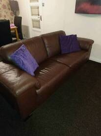 Large 3 and 2 seater leather sofas