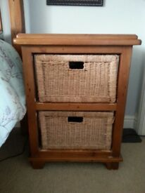 Very sturdy wooden bedside tables with 2 rattan baskets. (Two Avail)