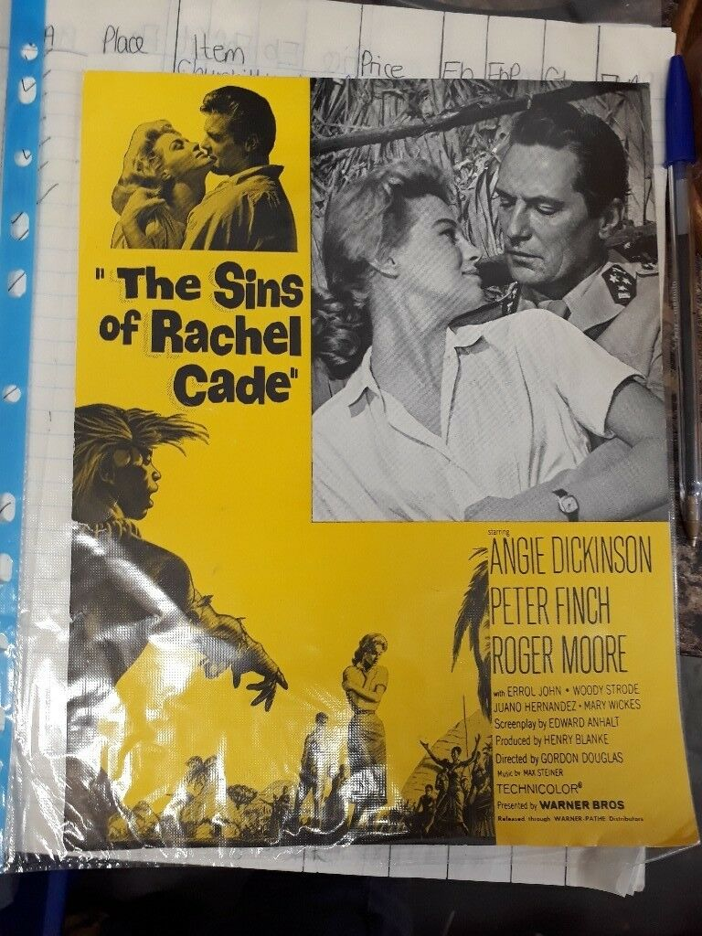 The Sins of Rachel Cade - vintage film advertisement page collectible movie ephemera