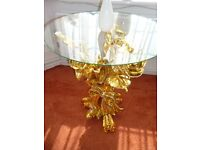 Glass table gold stand shape of a bouquet of roses with diamont