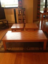 Wood Coffee Table & 2 Side Tables