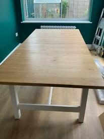 Ikea Solid Wood Extending Dining Table 10-12 Seater
