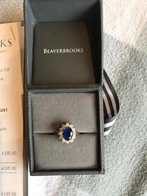 Ladies Blue CZ Clust Ring