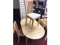 Oval Extendable table and 4 Wooden chairs with soft seat