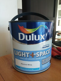 Dulux Light & Space - Absolute White - Matt Emulsion Paint - 2,5 L - brand new, sealed.