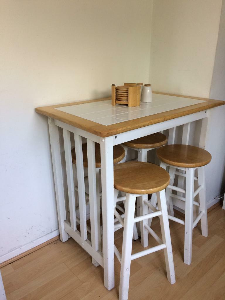 Greatest White and pine breakfast bar with 4 stools for sale | in  KF92