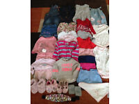 Baby Girls 12-18months clothing bundle includes pjs slippers dresses, denim oufits Will post