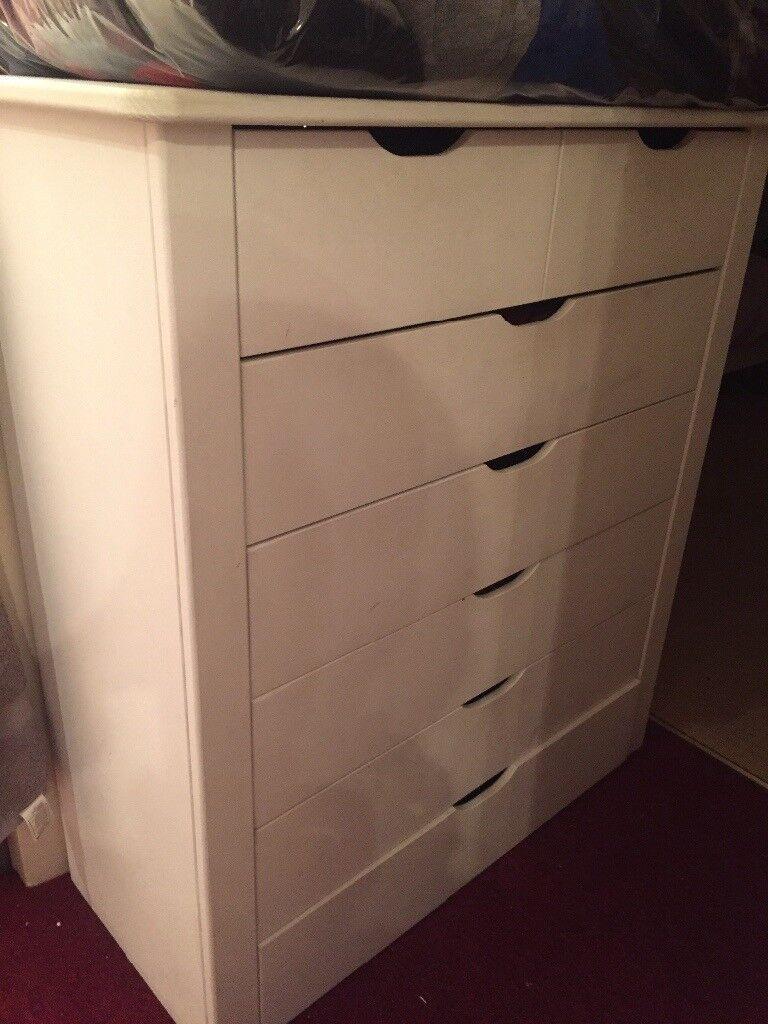 Painted white matt chest of drawers