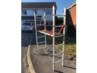 YOUNGMAN PRO-DECK 6 RUNG WORK PLATFORM WITH SHORTY DOUBLE A-FRAME EXTENSION LADDER / ACCESS PLATFORM