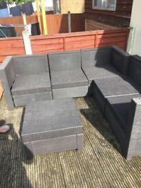 Dark brown patio garden furniture set