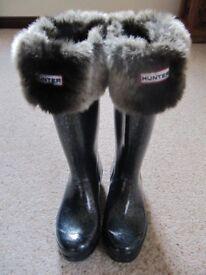 Hunter Wellies, Original Kids Glitter, UK3 (EU35/36), and fleece Hunter Socks