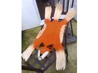 Brand new pure felted wool fox rug - great for babies and children